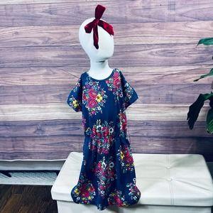 Gap Girls sz 8 Blue Floral Dress & Velvet Bow